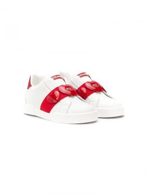 Кроссовки слипоны с сердечками Dolce & Gabbana Kids. Цвет: белый