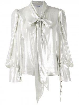 Блузка с бантом и эффектом металлик Parlor. Цвет: серебристый