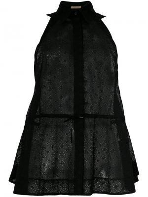 Прозрачная рубашка без рукавов со шнуровкой Alaïa Vintage. Цвет: черный