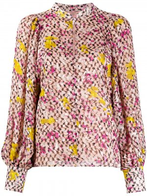 Блузка с цветочным принтом и вырезом-капелькой Lala Berlin. Цвет: розовый