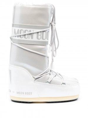 Зимние сапоги со шнуровкой Moon Boot. Цвет: серый
