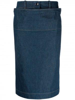 Джинсовая юбка миди Lemaire. Цвет: синий