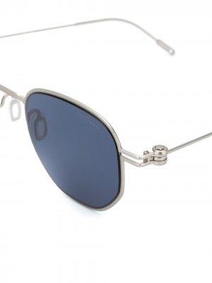 Солнцезащитные очки MB0081S в квадратной оправе Montblanc. Цвет: серебристый