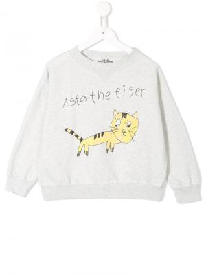 Tiger drawing print sweatshirt Bobo Choses. Цвет: серый