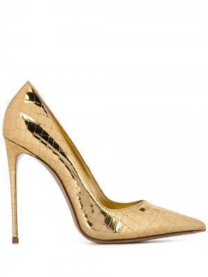 Туфли-лодочки на шпильке с тиснением под крокодила Le Silla. Цвет: золотистый