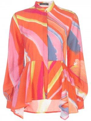 Рубашка с абстрактным принтом и баской Natori. Цвет: розовый