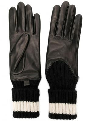 Перчатки с деталями ребристой фактурой Agnelle. Цвет: черный