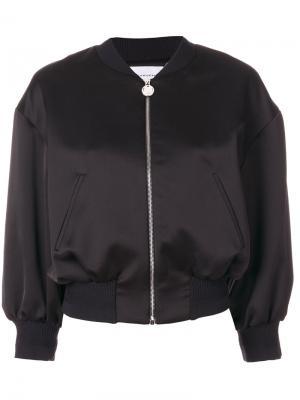 Укороченная куртка-бомбер с цветочной отделкой Carven. Цвет: черный