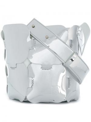 Маленькая сумка-хобо с зеркальным эффектом Paco Rabanne. Цвет: металлик