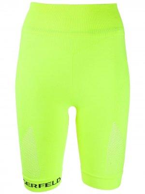 Бесшовные облегающие шорты Karl Lagerfeld. Цвет: желтый