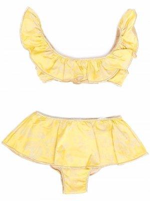 Жаккардовое бикини с драпировкой Oseree Kids. Цвет: желтый