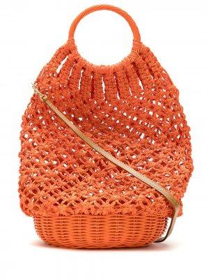 Соломенная сумка в технике кроше SERPUI. Цвет: оранжевый