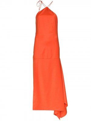 Платье асимметричного кроя с вырезом халтер Materiel. Цвет: оранжевый