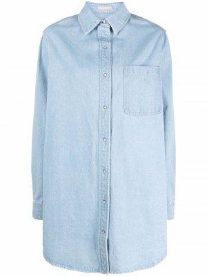 Джинсовое платье с длинными рукавами 12 STOREEZ. Цвет: синий