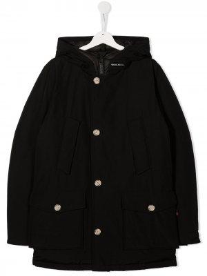 Пальто с капюшоном Woolrich Kids. Цвет: черный