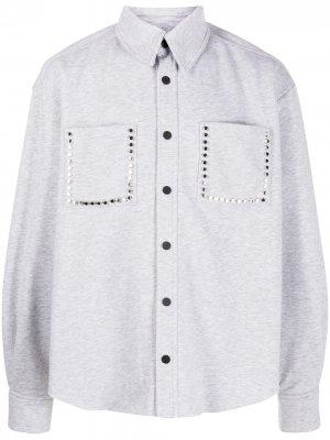 Рубашка из джерси с заклепками Natasha Zinko. Цвет: серый