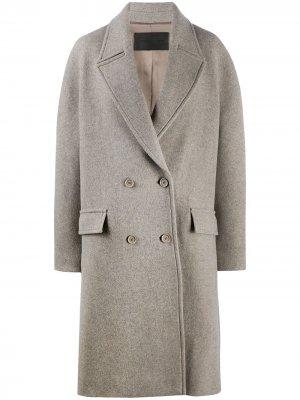 Двубортное пальто Chaman Christian Wijnants. Цвет: серый