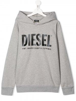 Худи SDivision с логотипом Diesel Kids. Цвет: серый