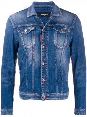 Джинсовая куртка с логотипом Dsquared2. Цвет: синий