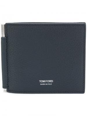 Бумажник с зажимом для денег Tom Ford. Цвет: синий