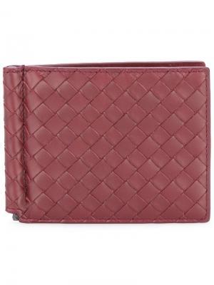 Бумажник с зажимом для купюр Bottega Veneta. Цвет: красный