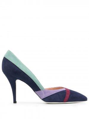 Туфли с контрастными полосками Pollini. Цвет: синий