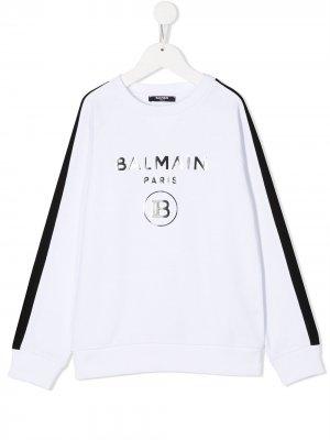 Толстовка с логотипом и контрастными полосками Balmain Kids. Цвет: белый