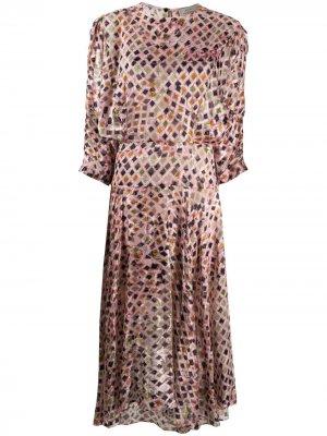 Платье Brooke с геометричным принтом Preen By Thornton Bregazzi. Цвет: розовый