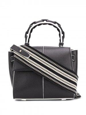 Мини-сумка Angel XS из зернистой кожи Elena Ghisellini. Цвет: черный