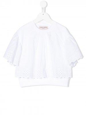 Блузка с кружевом Alberta Ferretti Kids. Цвет: белый