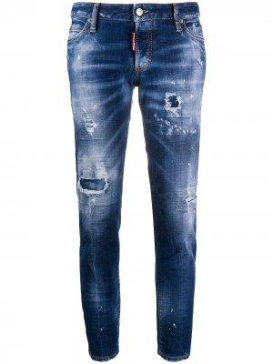Укороченные джинсы с прорезями Dsquared2. Цвет: синий