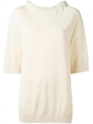 Блузка с воротником на завязке Marni. Цвет: нейтральные цвета