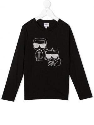 Топ с длинными рукавами и графичным принтом Karl Lagerfeld Kids. Цвет: черный