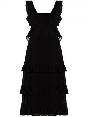 Ярусное платье миди Zimmermann. Цвет: черный