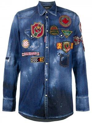 Джинсовая рубашка с нашивками Dsquared2. Цвет: синий