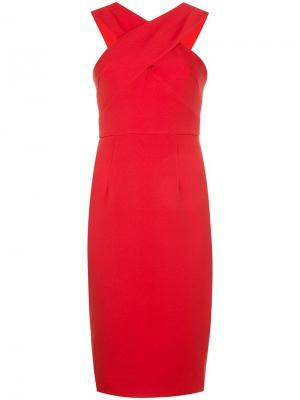 Приталенное платье с перекрещивающимися на груди лямками Milly. Цвет: красный