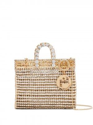 Мини-сумка Costanza с кристаллами Rosantica. Цвет: золотистый