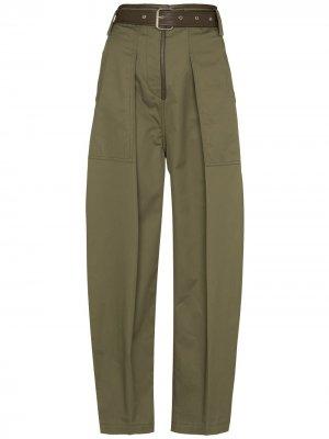 Зауженные брюки с завышенной талией LVIR. Цвет: зеленый