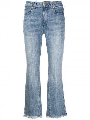 Укороченные расклешенные джинсы с завышенной талией Michael Kors. Цвет: синий