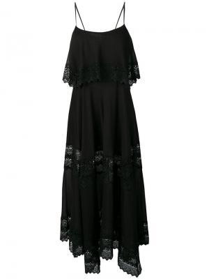 Платье макси на бретельках с кружевным узором Charo Ruiz. Цвет: черный