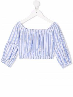 Полосатая блузка с широким воротником Miss Grant Kids. Цвет: белый