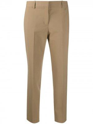Укороченные брюки строгого кроя Theory. Цвет: коричневый