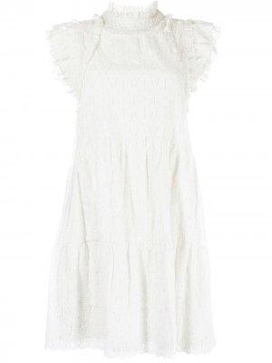 Платье с оборками и вышивкой Sea. Цвет: белый