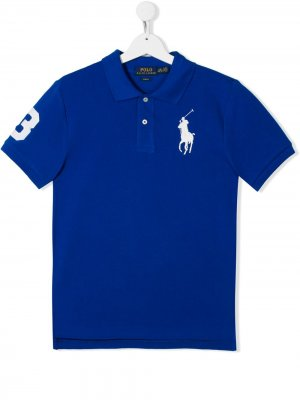 Рубашка-поло Big Pony с логотипом Ralph Lauren Kids. Цвет: синий