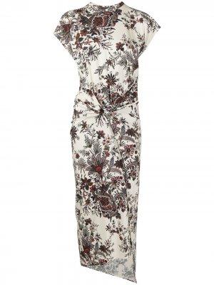 Floral-print midi dress Paco Rabanne. Цвет: нейтральные цвета