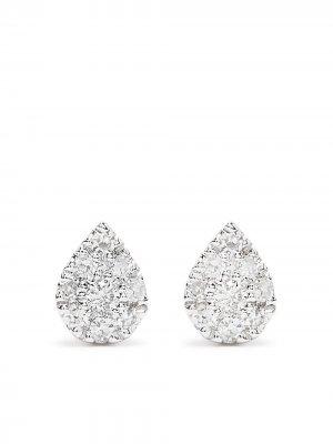 Серьги Pear из белого золота с бриллиантами Djula. Цвет: серебристый