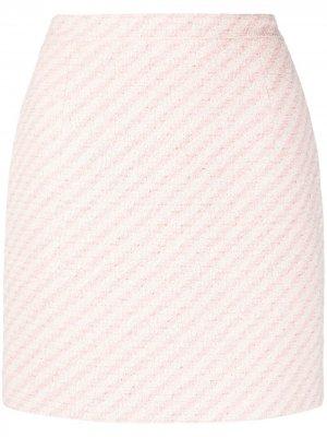 Юбка мини в полоску Alessandra Rich. Цвет: розовый