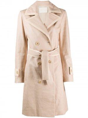 Двубортное пальто с поясом Drome. Цвет: нейтральные цвета