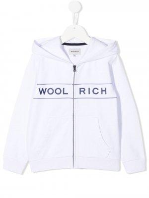 Худи на молнии с логотипом Woolrich Kids. Цвет: белый