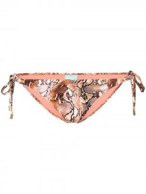 Плавки бикини Cancun со змеиным принтом Melissa Odabash. Цвет: коричневый